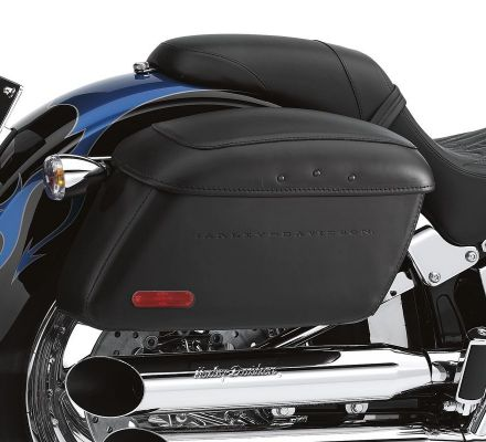 Harley-Davidson® Locking Leather Covered Rigid Saddlebags for Softail Models 53061-00B