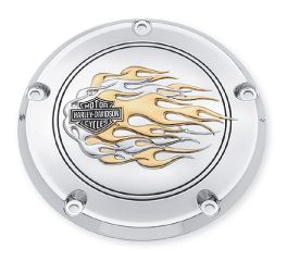 Harley-Davidson® Flames Gold & Chrome Derby Cover 25334-99A