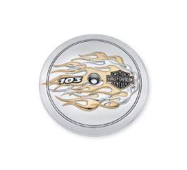 Harley-Davidson® Flames 103 Logo Gold & Chrome Air Cleaner Trim 61400022
